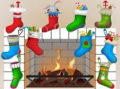 Christmas socks by the fireplace