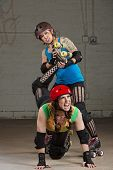 Female Twisting Roller Derby Skater's Leg