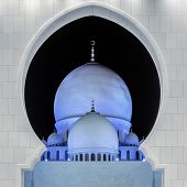 Part Of Famous Sheikh Zayed Grand Mosque By Night