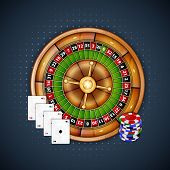 image of roulette table  - Background with chips and roulette - JPG