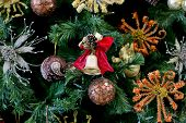 picture of christmas bells  - Christmas golden bell on the Christmas tree - JPG