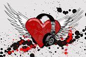 I Heart Headphone Grunge white