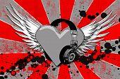 I Heart Headphone Grunge