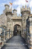 stock photo of templar  - Home or main entrance of Templar castle in Ponferrada the Bierzo Spain - JPG