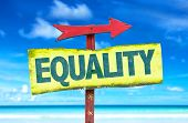 image of equality  - Equality sign with beach background - JPG