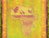 stock photo of continent  - grunge abstract background with African continent  - JPG