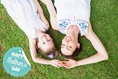 foto of mother daughter  - mothers day greeting against mother and daughter smiling at camera - JPG