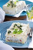 foto of lasagna  - White chicken cheese lasagna with sun dried tomatoes - JPG