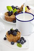 picture of homemaker  - Baked oatmeal muffins with blueberry served with milk - JPG