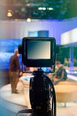 foto of recording studio  - Television studio with camera and lights  - JPG