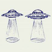 stock photo of flying saucer  - Space flying saucer - JPG