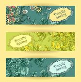 foto of blue things  - Set Doodle floral banners in blue marine green colors for advertising spring summer sale  or for advertising different  things - JPG