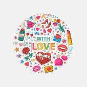 foto of perfume  - Love icons in the form of a circle - JPG