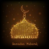 picture of ramadan mubarak  - Shiny golden mosque on brown background for Islamic holy month of prayers - JPG