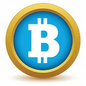 picture of bitcoin  - Gold Bitcoin icon on a white background - JPG