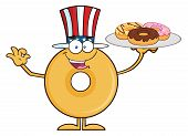 foto of donut  - American Donut Cartoon Character Serving Donuts - JPG