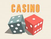 image of dice  - Stylish shiny 3D dices for Casino - JPG