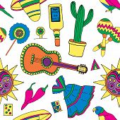 picture of mexican fiesta  - Seamless pattern for fiesta time with colorful hand drawn attributes of mexican holiday - JPG
