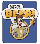 picture of yell  - Cartoon design features a man holding a glass of beer and yelling - JPG