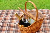 Постер, плакат: Picnic Basket On The Blanket Close up Lawn On The Background