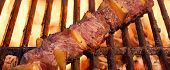 foto of bbq party  - Beef Kebab or Shashlik On The Hot BBQ Grill Closeup - JPG