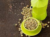 image of green-beans  - organic green coffee beans close - JPG