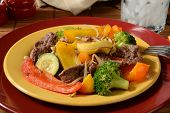 foto of bean sprouts  - A plate of beef stir fry with broccoli zuccini squash and bean sprouts - JPG