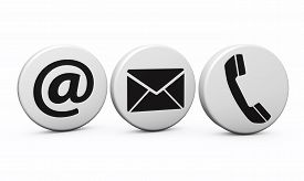 foto of blog icon  - Web contact us Internet concept with email phone and at black icon and symbol on white buttons for website blog and on line business - JPG