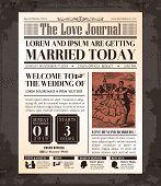 Vintage Newspaper Wedding Invitation Card Design poster