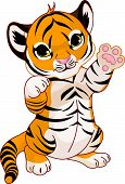 stock photo of tiger cub  - Illustration of cute playful tiger cub waving hello - JPG
