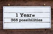 Inspirational Message - One Year Equal 365 Possibilities poster