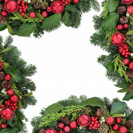 image of greenery  - Christmas background border with red bell bauble decorations - JPG