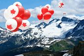 Canada day Maple leaf balloons floating over the Rocky mountains with a Canadian flag in the distanc poster