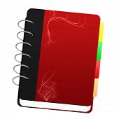 A red notebook with tags