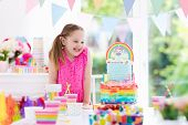 Kids Birthday Party. Little Girl With Cake. poster