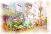 Straße in eine alte Stadt im südlichen Deutschland Lindau im künstlerischen Aquarell-Stil gemacht