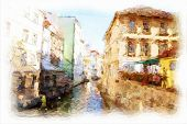 streets of Old Prague. Architectural detail made in artistic watercolor style