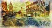 streets of Old Prague made in artistic watercolor style