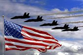 picture of american flags  - Blue Angels and an American Flag in composite - JPG