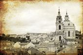 views of old part of Prague made in retro style