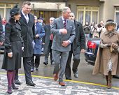 PRAGUE - MARCH 21: Prince Charles and Duchess Camilla arrive for worship at St. Clements Anglican-Episcopal Church, Prague, Czech Republic on March 21, 2010 in Prague
