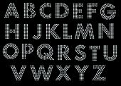 San serif alphabet font made of little blue diamonds with clipping path poster