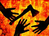 Hands & axe, criminal illustration