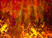 burning grunge background, painted rusty metal sheet