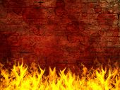 Grunge brick wall on fire