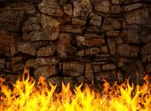 Stone wall on fire, background