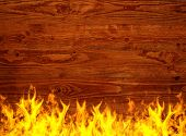 wooden surface on fire
