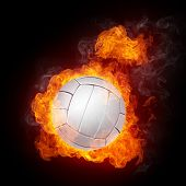 picture of volleyball  - Volleyball Ball on Fire - JPG