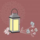 Vintage Lantern in garden at dusk