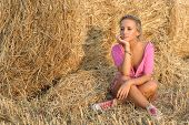 rural portrait of pretty blond girl